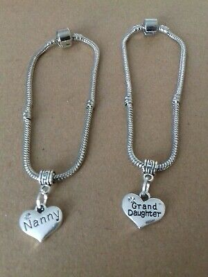 £1.99 • Buy NANNY AND GRAND DAUGHTER Love Heart Charm Bracelets 2PC SET BARGAIN ONLY  £1.99
