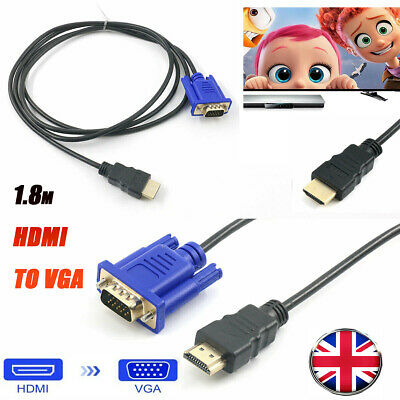 £1.70 • Buy HDMI To VGA Cable HD-15 D-SUB Video Adapter Cord For PC Monitor Game HDTV Black