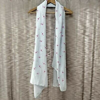 £2.49 • Buy Women's New Pale Blue & Pink Flamingo Print Scarf Shawl Ideal Gift