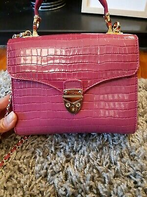 £200 • Buy Aspinal MidiMayfairBag In Deep Shine Hibiscus Small Croc With Box And Dustbag