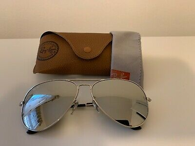 AU60.61 • Buy Ray Ban Aviator Sunglasses 3026,  62 Mm Large, Silver Frame/ Mirrored Lens.