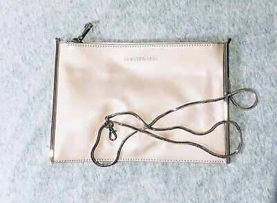 AU20 • Buy FOREVER NEW - Blush Pink Clutch Bag  + Gold Shoulder Chain - Brand New!