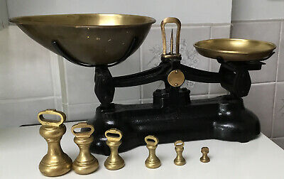 £19.99 • Buy Vintage Black Libra Cast Iron Scales: 2xBrass Pans: 6 Brass Imperial Weights.