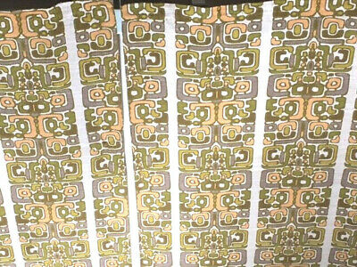 £55 • Buy Pair 1960s Linen Tapestry Fabric Curtains Retro Eames Era 70s Op Art 1 Of 2