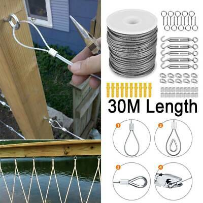 £14.69 • Buy 30M Stainless Steel Wire Rope Cable Railing Fence Roll Kits Hanging Hooks 2mm UK