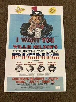 $7.99 • Buy Willie Nelson Johnny Cash Neil Young 1983 July 4 Picnic Concert Poster 12x18
