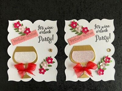 £2.75 • Buy Luxury Birthday Wine Time! Glass & Flowers Card Toppers (R1)