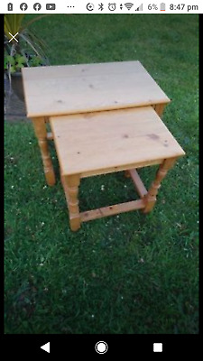 £9.99 • Buy Nest Of Two Pine Side Or Coffee Tables