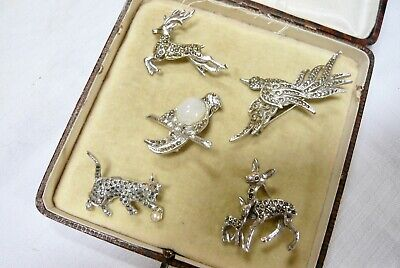 £12.99 • Buy Mixed Job Lot Of Vintage Marcasite Brooches Pins Various A/f