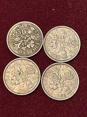 £3.95 • Buy Sixpence 6d Coin Great Britain 1962 1963 1964 1966 Elizabeth II #7