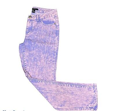 £12 • Buy Womens Forever 21 Tie Dye Skinny Jeans Uk 6 Cropped Low Rise Pants Pink  W25 L27