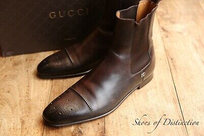 £229 • Buy Men's Gucci Brown Leather Boots Shoes UK 8 US 9 EU 42
