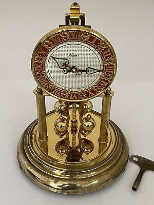 """£39.99 • Buy Vintage German 400 Day Mechanical Move Clock """"KERN"""" With Glass Dome & Key"""