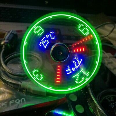 AU27.63 • Buy LED Clock Fan Mini USB Powered Cooling Flashing Real Time Display Function