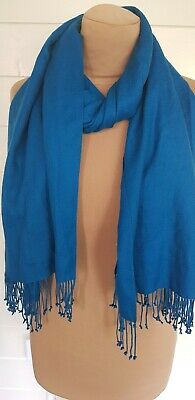 £10 • Buy *pure Collection* 100% Cashmere Scarf Shade Teal Blue Lightly Worn Once £££