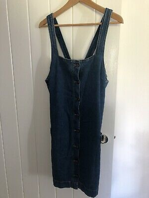 £8 • Buy Fatface Denim Dungaree Dress Size 14 Button Up Front