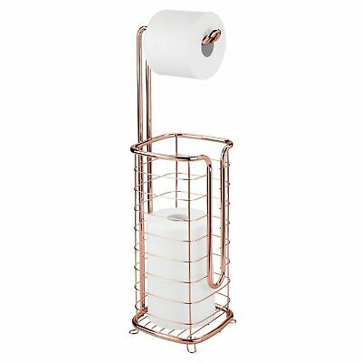 AU54.73 • Buy MDesign Metal Free Standing Toilet Paper Stand/Dispenser - 4 Rolls - Rose Gold