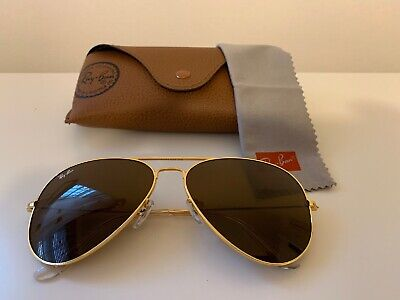 AU59.92 • Buy Ray Ban Aviator Sunglasses ,3026, 62 Mm Large, Gold Frame/ Brown Lens.