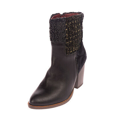 £29.99 • Buy DESIGUAL Ankle Boots EU 38 UK 5 US 7.5 Shearling & Jacquard Trim Knitted Insert