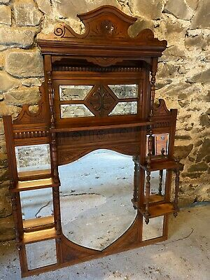 £49.99 • Buy Victorian Style Overmantel With Mirrors And Shelves. Very Decorative