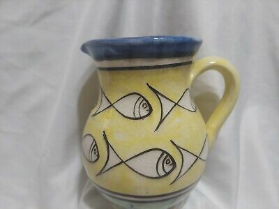 £68.67 • Buy Dmani Safi Moroccan Ceramic Yellow Pitcher With Fish, Vintage