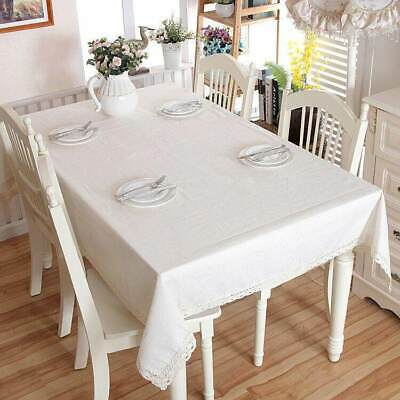 AU8.75 • Buy White Decorative Table Cloth Top Cotton Linen Lace Tablecloth Dining Table Cover