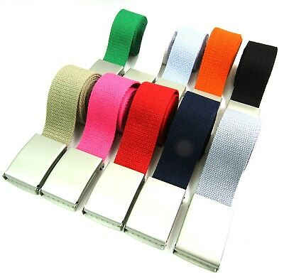 £3.99 • Buy   Unisex Quality Cotton Canvas Fabric Plain Webbing Belt Silver Buckle Up To 52