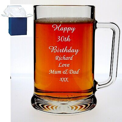 Personalised Engraved Pint Glass Tankard Birthday 18th 21st 30th Gift Box  • 9.98£