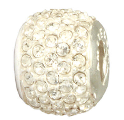 Amore & Baci Crystal Pave Bead Sterling Silver • 45£