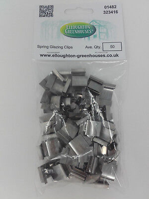 50 Stainless Steel Spring  G  Greenhouse Glazing Clips Elite Band Glass Fixings • 6.95£