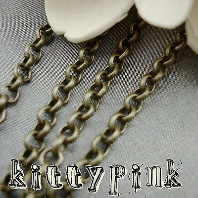 2 Metres Antique Gold Bronze Rolo Chain 3mm NICKEL FREE • 0.99£