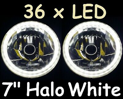 AU134.50 • Buy Ford F100 F150 F250 F350 Bronco Pick Up White LED Halo 7  Round Headlights