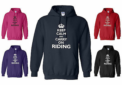 New Horse Hoody 'keep Calm And Carry On Riding' S/m/l/xl/xxl  • 21.95£