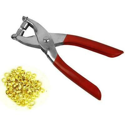 Eyelet Pliers Tool Kit Free 100 Brass Eyelets-Hole Makers/Leather Craft • 3.35£