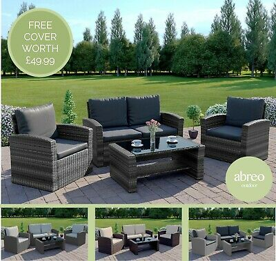 Rattan Garden Furniture Conservatory Sofa Set 4 Seat Armchair Table FREE COVER • 299.99£