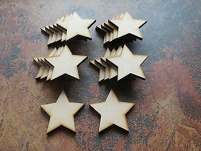 20x Wooden Star Shapes Laser Cut MDF. Blank Embellishments Craft 50mm X 50mm • 2.99£
