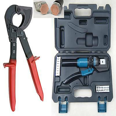 £95.99 • Buy 150²mm RATCHET CABLE CUTTER + HYDRAULIC 4-70mm CRIMPING ROPE TOOL KIT CRIMPERS