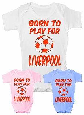 Born To Play For Liverpool Football Babygrow Vest Baby Clothing Funny Gift  • 5.95£