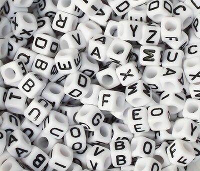 100 Letter A-Z  Acrylic Cube Alphabet Bead 6mm ONLY 99P  • 0.99£