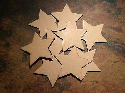 10x Wooden Star Shapes, Laser Cut Blank, 4mm MDF Craft 100mm X 100mm • 3.99£