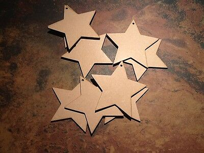 10x Wooden Star Shapes Laser Cut 4mm MDF. Blank Craft Embellishments 100mmx100m  • 3.99£