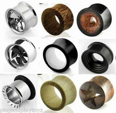 $6.99 • Buy PAIR Organic Natural Wood Or Steel Flesh Tunnels Double Flared Ear Plugs Gauges