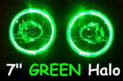 AU134.50 • Buy Ford F100 F150 F250 F350 Bronco Pick Up GREEN LED Halo 7  Round Headlights