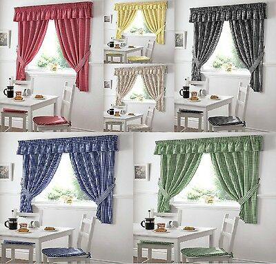 Gingham Check Curtains Inc Free Tiebacks / Kitchen Curtains Pencil Pleat Top • 15.35£