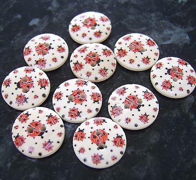10 Wooden Red Ladybird Ladybug Round Buttons 18mm Sewing • 0.99£