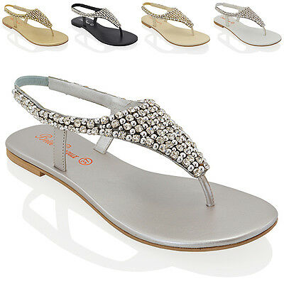 £24.99 • Buy Ladies Flat Toe Post Womens Diamante Pearl Holiday Dressy Party Sandals Size 3-9