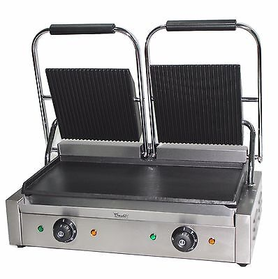 Panini Press Double Sided Electric Commercial Twin Contact Grill Pannini Maker • 999.99£