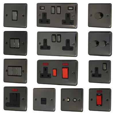 £8.95 • Buy Black Nickel Light Switches, USB Plug Sockets, Dimmer & Cooker Switches
