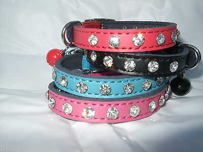 Cat Collar Real Leather Diamante Crystal, Kitten Safety Elastic Bling Genuine • 4.79£