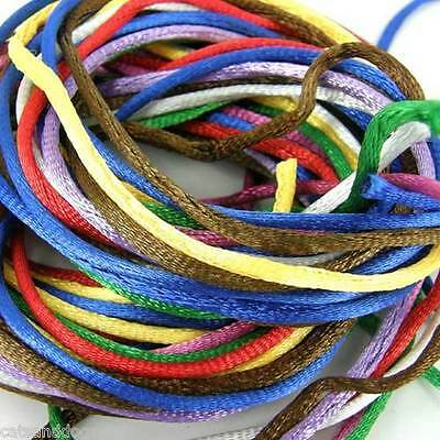 10m Pack Of Silky 2mm Rattail Jewellery Cord Shamballa Kumihimo Many Colours • 2£